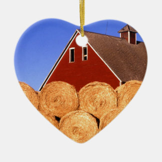 Farm Red Barn Hay Bales Double-Sided Heart Ceramic Christmas Ornament