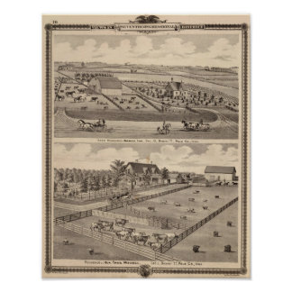 Farm residence of I Lee & residence of T Mitchell Print