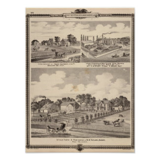 Farm, residences & pipe works poster