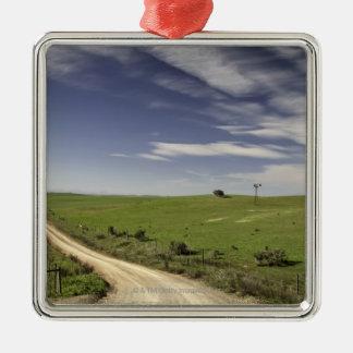 Farm road twining between wheat fields, Caledon, Metal Ornament