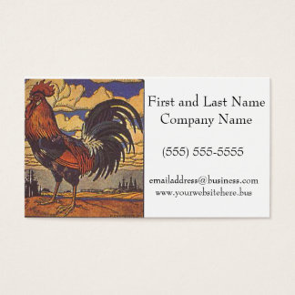 Farm Rooster Chicken Painting Illustration Business Card