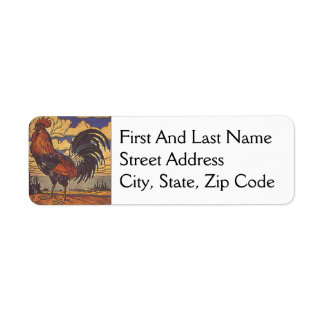 Farm Rooster Chicken Painting Illustration Label