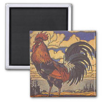Farm Rooster Chicken Painting Illustration Magnet