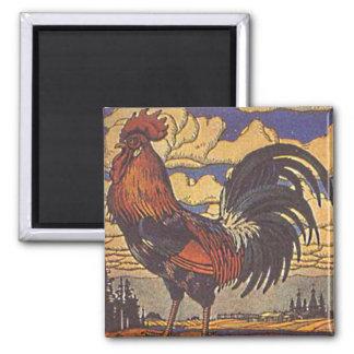 Farm Rooster Chicken Painting Illustration Refrigerator Magnet
