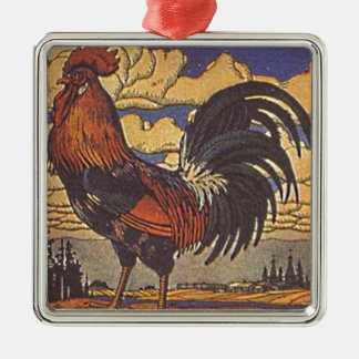 Farm Rooster Chicken Painting Illustration Ornaments