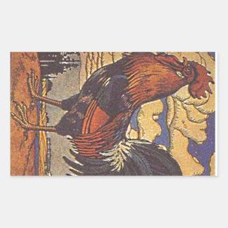 Farm Rooster Chicken Painting Illustration Rectangular Sticker