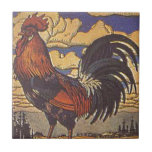 Farm Rooster Chicken Painting Illustration Tile