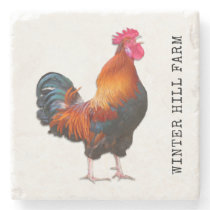 Farm Rooster Personalized Stone Coaster