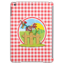 Farm Rootster; Red and White Gingham Cover For iPad Air