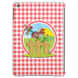 Farm Rootster; Red and White Gingham iPad Air Cover