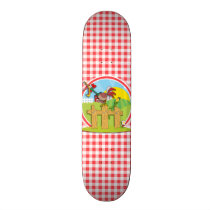 Farm Rootster; Red and White Gingham Skateboard