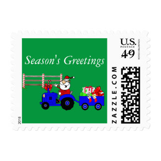 Farm Santa On Tractor With Gift Trailer and Fence Postage