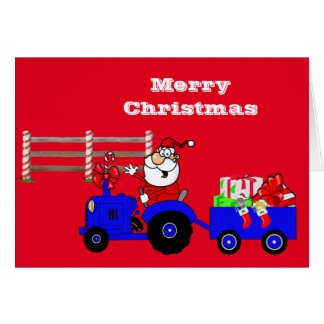 Farm Santa On Tractor With Gifts Card