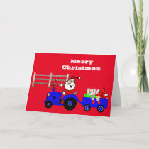 Farm Santa On Tractor With Gifts Holiday Card