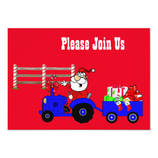 Farm Santa With Gifts Party Invitation Template