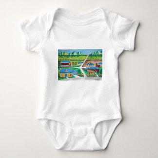 Farm scene art baby bodysuit