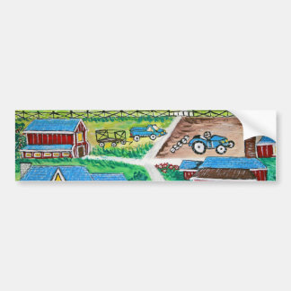 Farm scene art bumper sticker