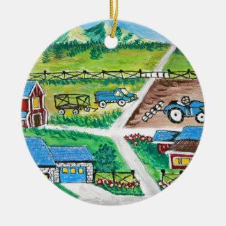 Farm scene art ceramic ornament