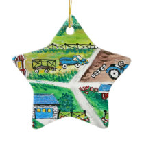 Farm scene art ceramic ornament