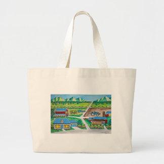 Farm scene art large tote bag