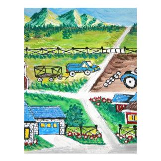 Farm scene art letterhead