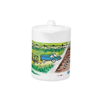 Farm scene art teapot