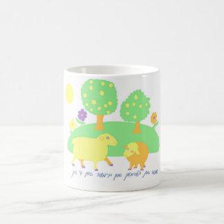 farm scene-farm scene-sheep, trees and flowers coffee mug