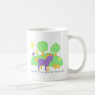 farm scene- horse, bunny and trees and flowers-in coffee mugs
