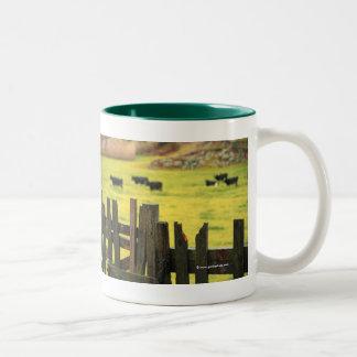 Farm scene Two-Tone coffee mug