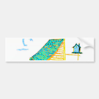Farm Scene with shed, tree, and birdhouse Bumper Sticker