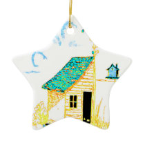 Farm Scene with shed, tree, and birdhouse Ceramic Ornament