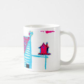 Farm Scene with shed, tree, and birdhouse Coffee Mug