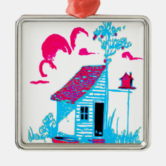 Farm Scene with shed, tree, and birdhouse Metal Ornament