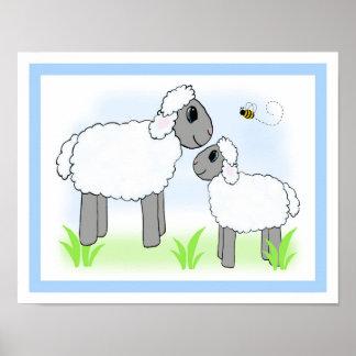 Farm Sheep Lamb Nursery Baby Boy Wall Art Print