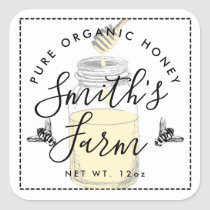 Farm shop honey jar label small business