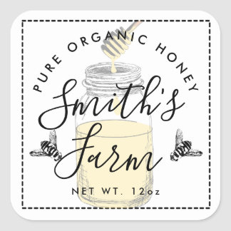 Farm shop honey jar label small business