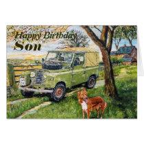 """""""FARM"""" Son Birthday Card With Land Rover Scene"""