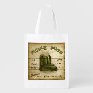 Farm Stand Sign, Pickle Puss, grocery bag
