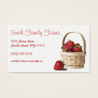 Farm Stand Strawberry Produce Green Geometric Back Business Card