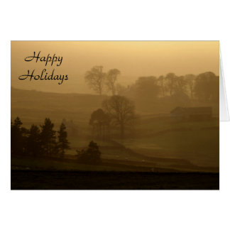 Farm Stead in the Evening Mist Happy Holidays Card