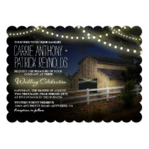 Farm String Lights Rustic Barn Wedding Invitations