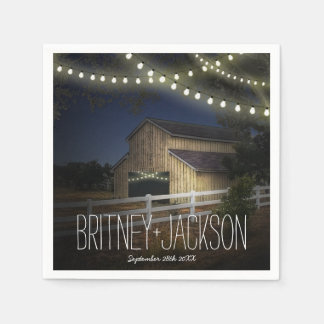 Farm String Lights Rustic Barn Wedding Napkins