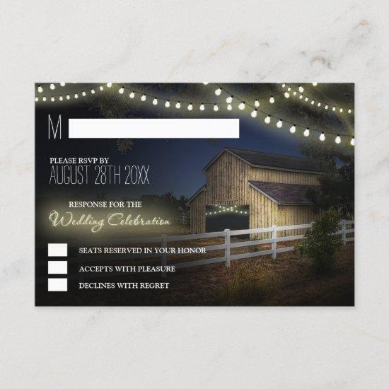 Farm String Lights Rustic Barn Wedding RSVP Cards