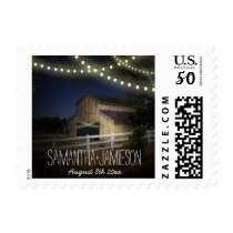 Farm String Lights & Rustic Barn Wedding Stamps