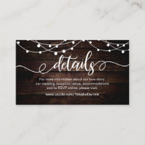 Farm String lights, White, Wood,  Wedding Details Enclosure Card