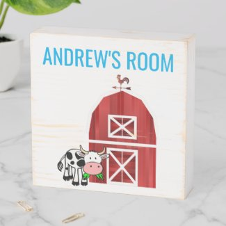 Farm Style Cartoon Red Barn Kid's Room/Monogram Wooden Box Sign