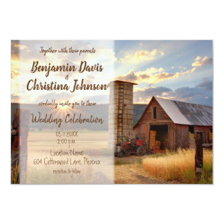 Farm & Sunflower Wedding Invitations