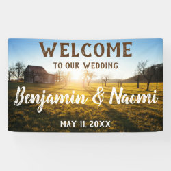 Farm Sunset Wedding Welcome Banner