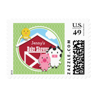 Farm Theme Baby Shower; Bright Green Ovals Stamps