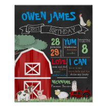 Farm Theme First Birthday Stats Chalkboard Poster